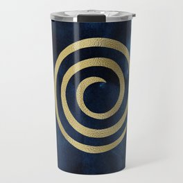 Infinity Navy Blue And Gold Abstract Modern Art Painting Travel Mug