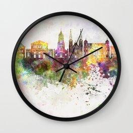 Sosnowiec skyline in watercolor background Wall Clock