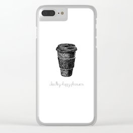 Coffee Doodle Clear iPhone Case