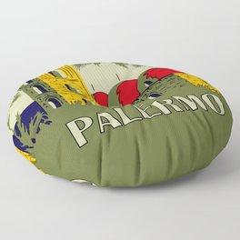 Retro Palermo Sicily hotel travel ad Floor Pillow
