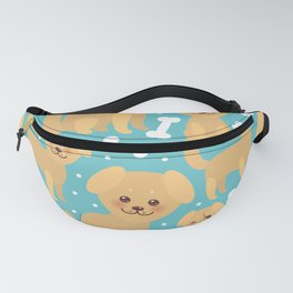 pattern funny golden beige dog and white bones, Kawaii face with large eyes and pink cheeks Fanny Pack