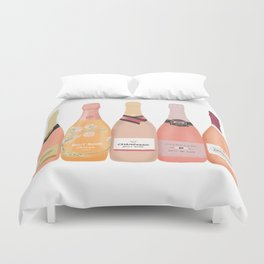Rose Champagne Bottles Duvet Cover