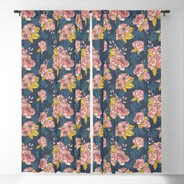 Moody Florals - Blue + Pink Blackout Curtain