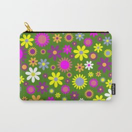 Multicolored Flower Garden Pattern Carry-All Pouch