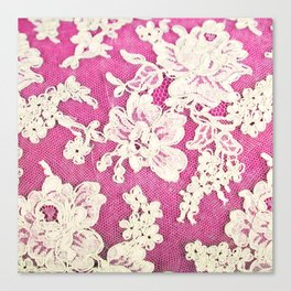 pink lace-photograph of vintage lace Canvas Print