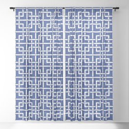 Tangled squares Chinoiserie in blue & white Sheer Curtain