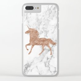 Rose gold unicorn on marble Clear iPhone Case
