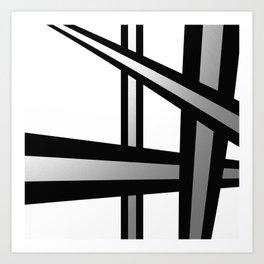 Bold Metallic Beams - Minimalistic, abstract black and white artwork Art Print