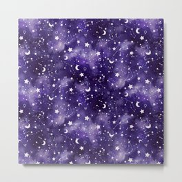 Zodiac Watercolor Ultraviolet Metal Print