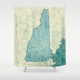 New Hampshire State Map Blue Vintage Shower Curtain