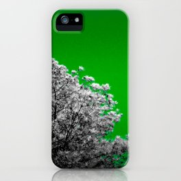 Gray Trees green Sky iPhone Case