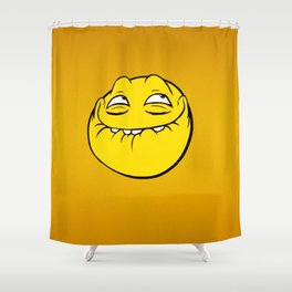 Meme Face Smiley Emoticon Yelow Funny Head Troll Shower Curtain