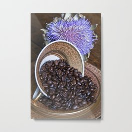 COFFEE BEANS with Blue Artichoke Metal Print
