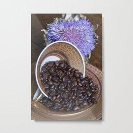 COFFEE BEANS with Blue Artichoke Metal Print