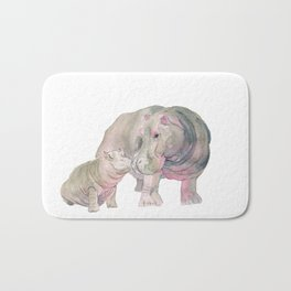 Mom and Baby Hippo Bath Mat