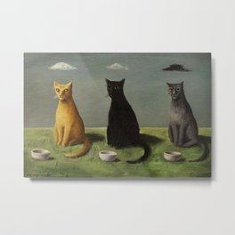 Three Cats with Clouds That Follow Them Everywhere by Gertrude Abercrombie Metal Print