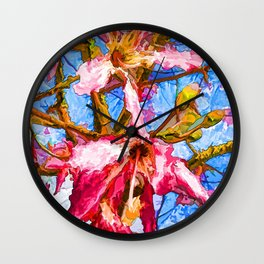 Tropical Flowers Design  Wall Clock
