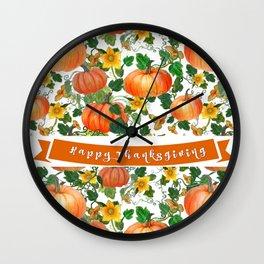 Thanksgiving Pumpkin Greetings Wall Clock