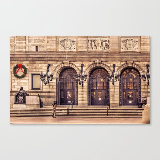 Christmas night at Boston Public Library Canvas Print