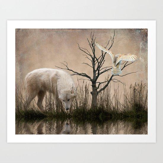 Woodland wolf reflected Art Print