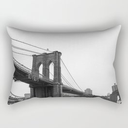 Black and White Brooklyn Bridge Rectangular Pillow