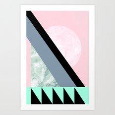 Pink Turquoise Pastel Moon Art Print