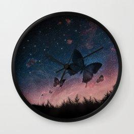 aurora borealis - night garden Wall Clock
