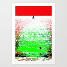 Sailboat and Swimmer (2a) Art Print