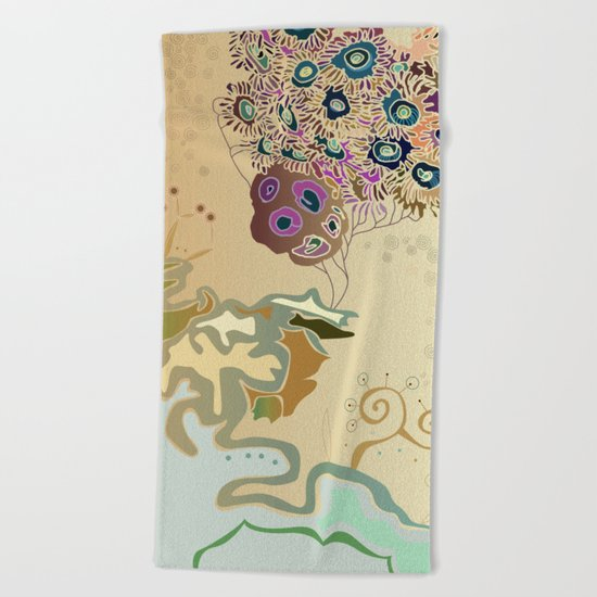 Beige reef Beach Towel