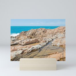 Beautiful azure sea and sandstones beach, Tyrrhenian sea in Tuscany, Italy Mini Art Print