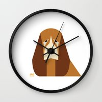 the hound Wall Clocks featuring Basset Hound by Page 84 Design