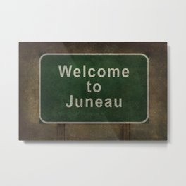 Welcome to Juneau roadside sign illustration Metal Print