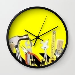 Yellow Tools Wall Clock
