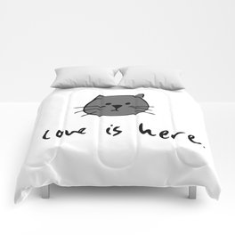 Love is Here (Grey Cat 2) Comforters