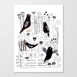 Black bird singing Canvas Print