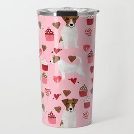 Jack Russell Terrier valentines day cupcakes and hearts love pattern gifts for dog lovers Travel Mug