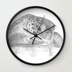 A Green Sea Turtle :: Grayscale Wall Clock
