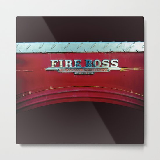 Fire Boss - Fort Worth - Fire Engine Red and Chrome Metal Print