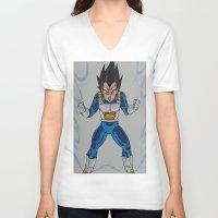 vegeta V-neck T-shirts featuring Prince Vegeta by bmeow