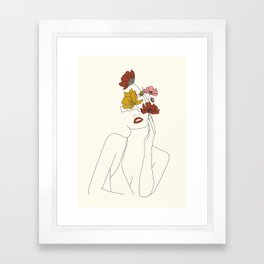 Colorful Thoughts Minimal Line Art Woman with Flowers Framed Art Print