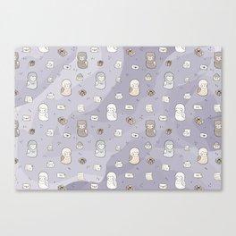 Owl Post Pattern - Lavender Watercolor Canvas Print