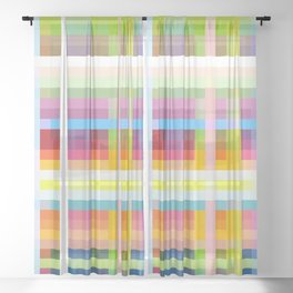 geometric retro grid design Myrmecoleon Sheer Curtain