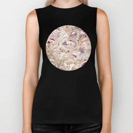 Dusty Rose and Coral Art Deco Marbling Pattern Biker Tank