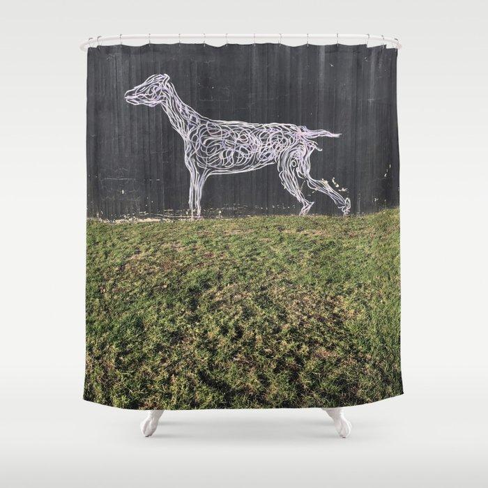 Tel Aviv Walls - Dog Graffiti Black and White Shower Curtain