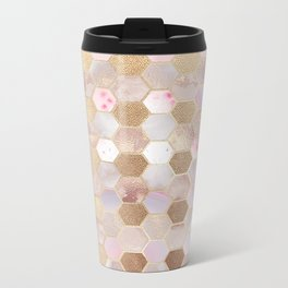 Hexagonal Honeycomb Marble Rose Gold Metal Travel Mug