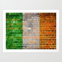 Ireland flag on a brick wall Art Print