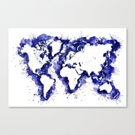Navy blue watercolor world map with strokes Canvas Print