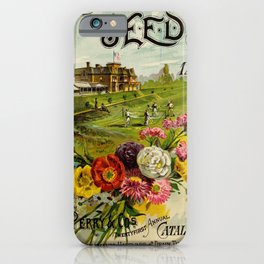 garden 065 Field  Flag  House  Flowers  Frame11 iPhone Case