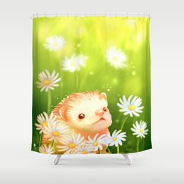 Among flowers and hedgehogs Shower Curtain