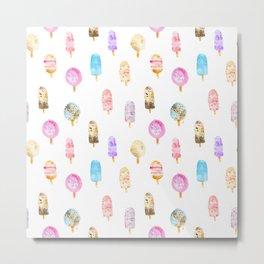 Dolce vita || watercolor ice cream summer pattern Metal Print